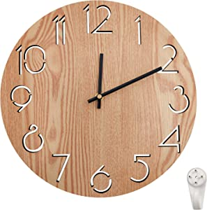 The B-Style TB 12 Inch Modern Wall Clock Silent Non Ticking Easy to Read Decorative Wall Clocks for Living Room Decor Home Office Kitchen (Wood-A)