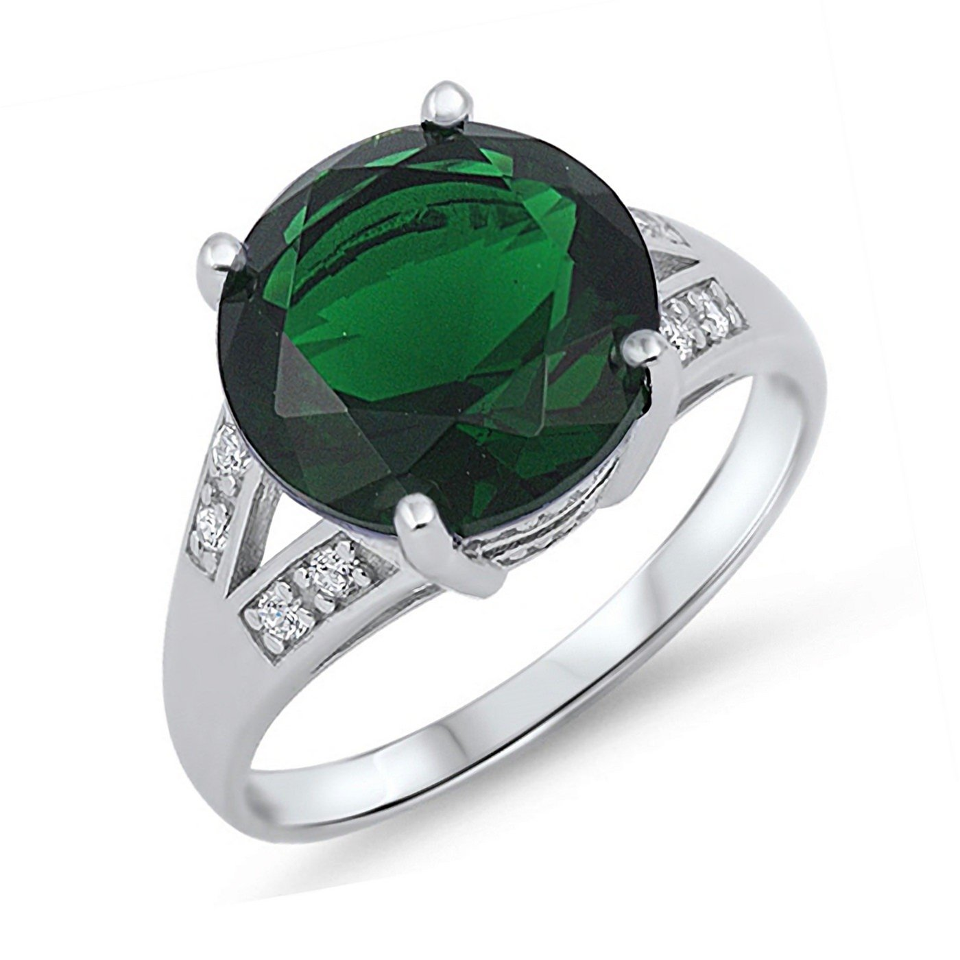 Simulated Emerald Round Cut Cubic Zirconia Womens 925 Sterling Silver Ring Sizes 6-10