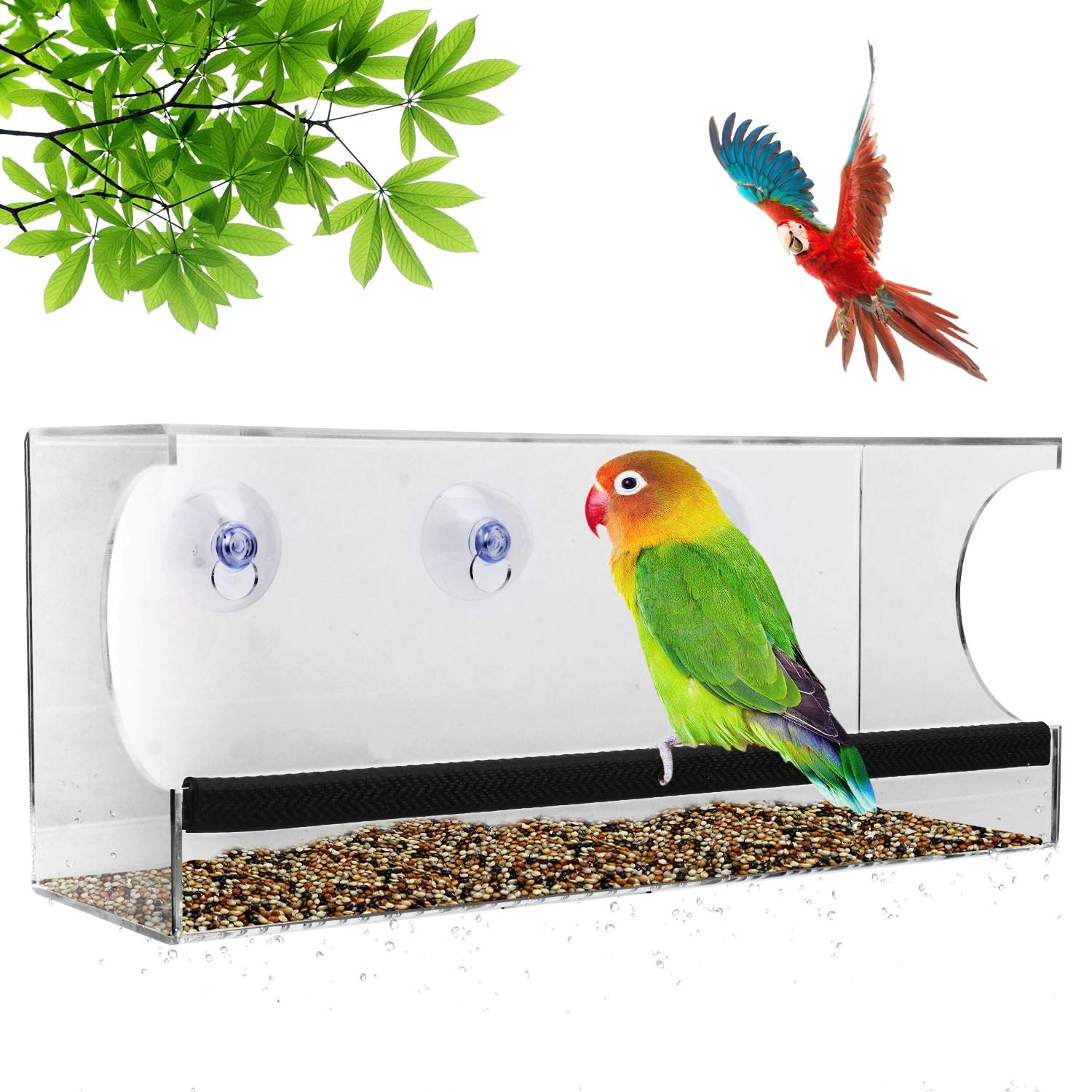 Window Bird Feeders, AUGYMER Clear Bird Feeders Water Feeder Set with Strong Suction Cups Easy Wild Outside Installation Modern Large Birdfeeder with Drain Holes for Bird Lovers AU-BIRD-FD01