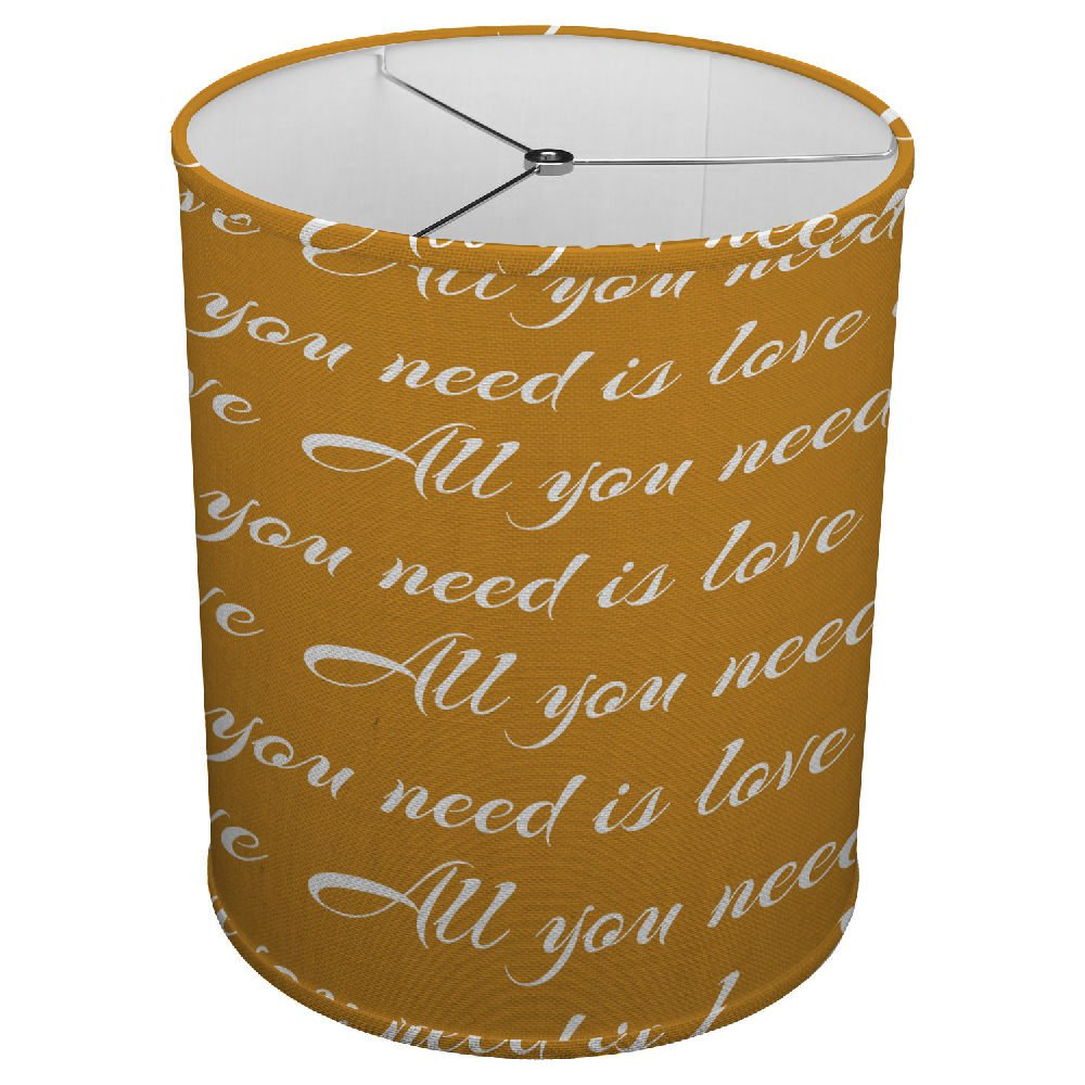 Hardback Linen Drum Cylinder Lamp Shade 8'' x 8'' x 8'' Spider Construction [ All You Need Is Love ]
