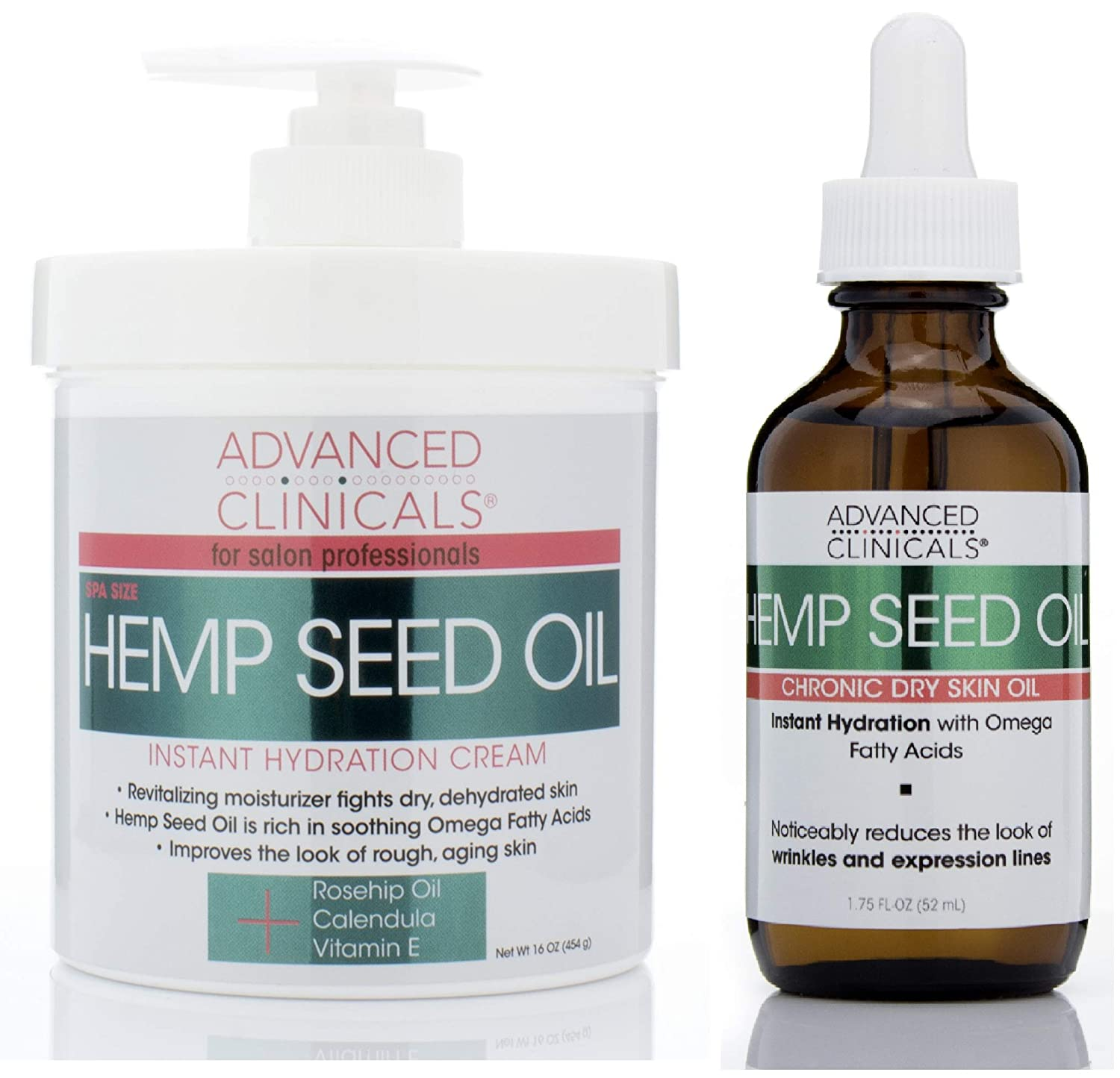 Advanced Clinicals Hemp Seed Oil Set with Cold Pressed Hemp Seed Oil. Hemp Facial oil (1.8oz) and Spa Size Hemp Seed oil cream for body and face (16oz)