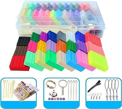 Kit de alivio de estrés Slime 24 colores de arcilla de polímero suave juego de juguete de plastilina infantil con herramientas de decoración Caja de organizador para arte artesanía DIY: Amazon.es: Juguetes