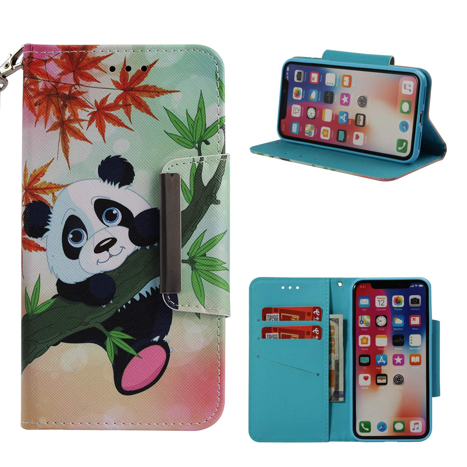 Leather Wallet Case for iPhone X,Shinyzone Cute Cartoon Animal Panda Painted Pattern Flip Stand Case,Wristlet & Metal Magnetic Closure Protective Cover