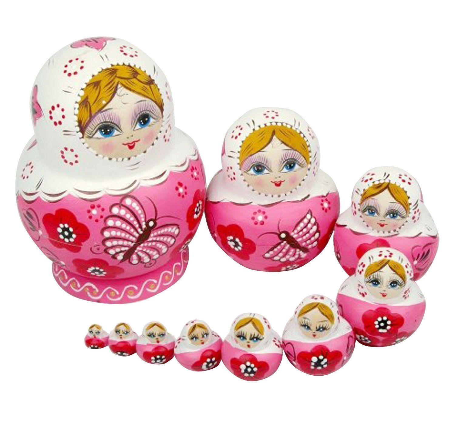 005 New 10pcs New Beautiful Pink Wooden Russian Nesting Dolls Gift Matreshka Handmade Yapthes