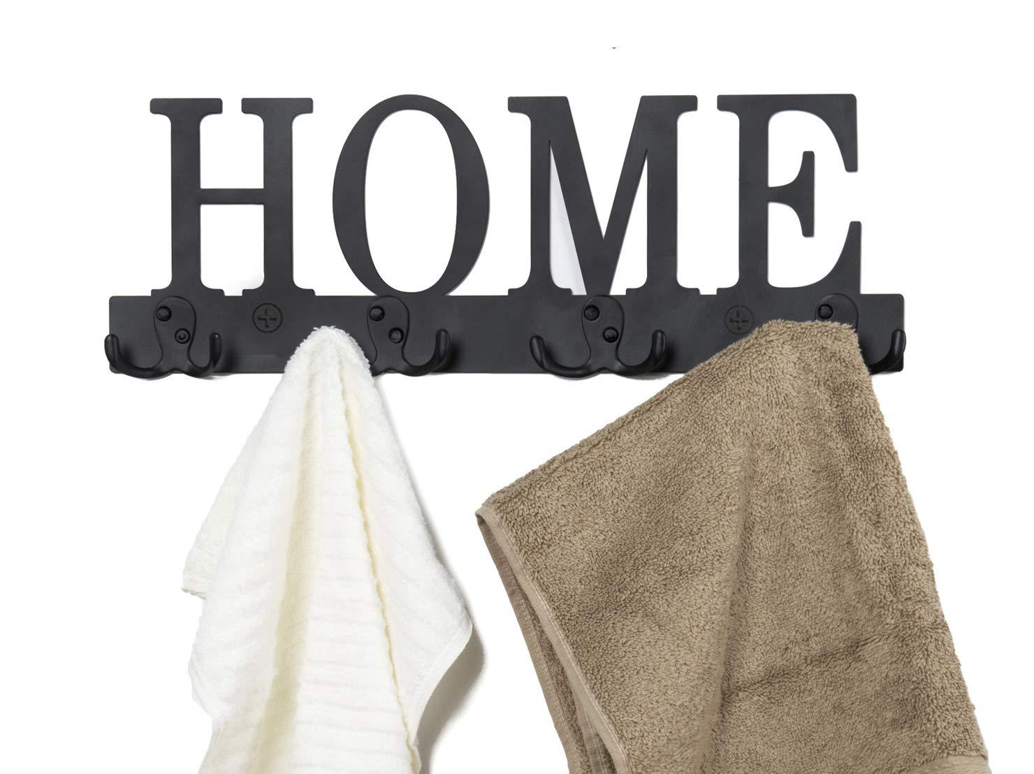 Soduku Home Design Wall-Mounted 4 Dual-Hook Wall Towel Rack Clothing Hooks