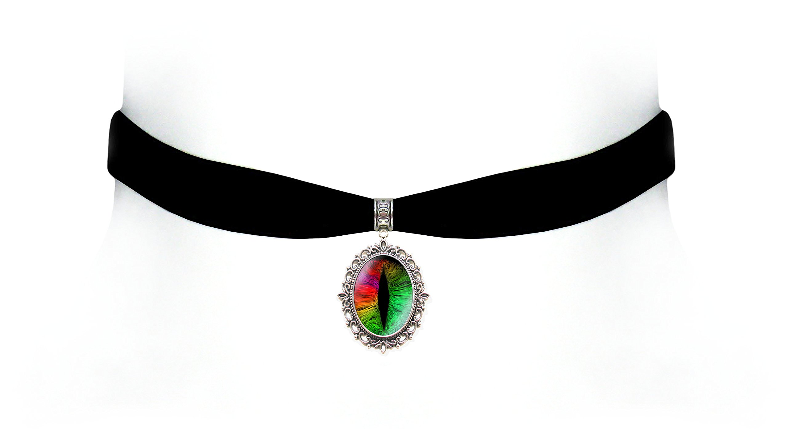 Victorian Vault Black Velvet Dragon Eye Choker Steampunk Gothic Pendant Necklace (Rainbow)