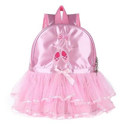 963d2292acfe Amazon.com: FEESHOW Girls Kids Ballet Dance Backpack Toe Shoes ...