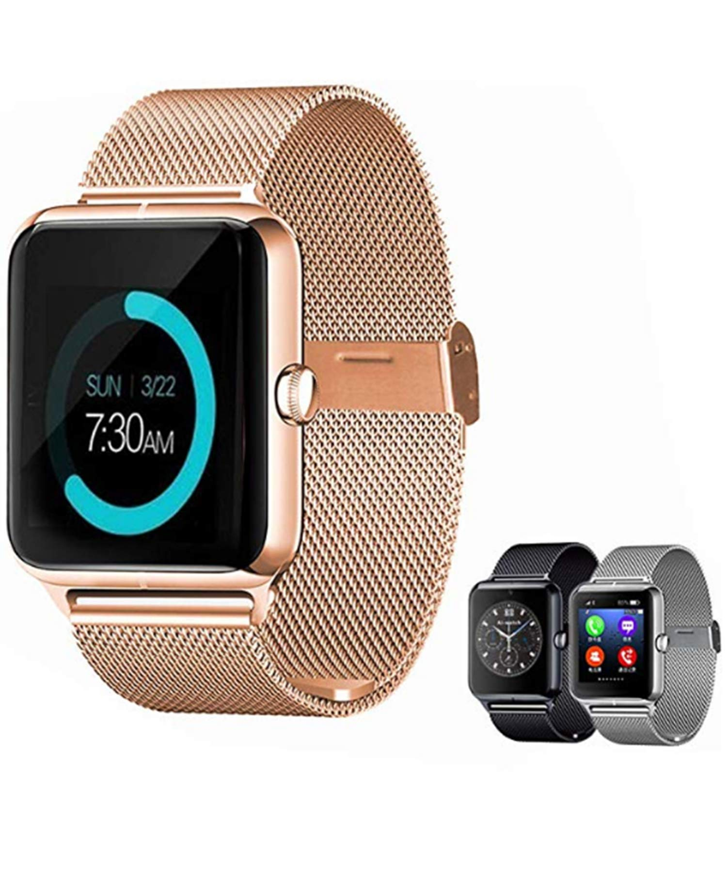 Yirind Smart Bluetooth Watch, with Camera Touchscreen, Sport Wrist Watches for iPhone/Android/iOS,Gold