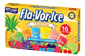 Fla-Vor-Ice Freezer Pops, Fat Free Ice Pops, Tropical Flavors (12 Boxes, 16 - 1.5 oz pops per box)