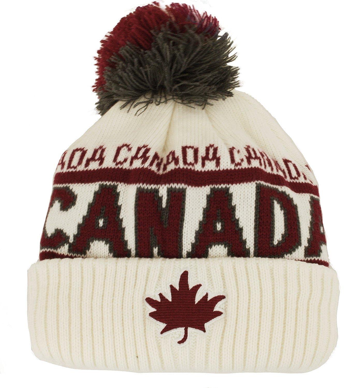 Canada Sport Warm Winter Hat Beanie True North Travel Tuque - Cream White  at Amazon Men s Clothing store  06bf4318266