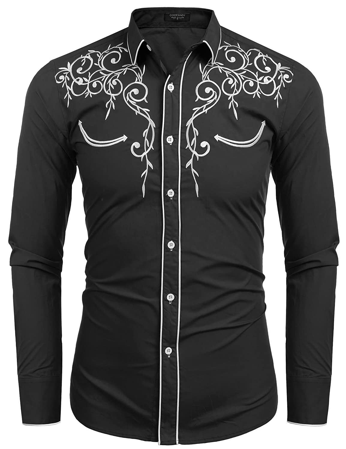 ce36c258 COOFANDY Men's Long Sleeve Embroidered Shirt Slim Fit Casual Button Down  Shirts at Amazon Men's Clothing store: