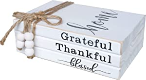 LIVDUCOT Wooden Farmhouse Decor Book Stack | Faux Book Stacks | Set of 3 Stacked Books for Coffee Tables Book Shelf Decor | Grateful Thankful Blessed Home Sign 7'x 5.5'x 2.5'