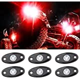 LED Rock Light Kits with 6 pods Lights for Off Road Truck Car ATV SUV (Red)