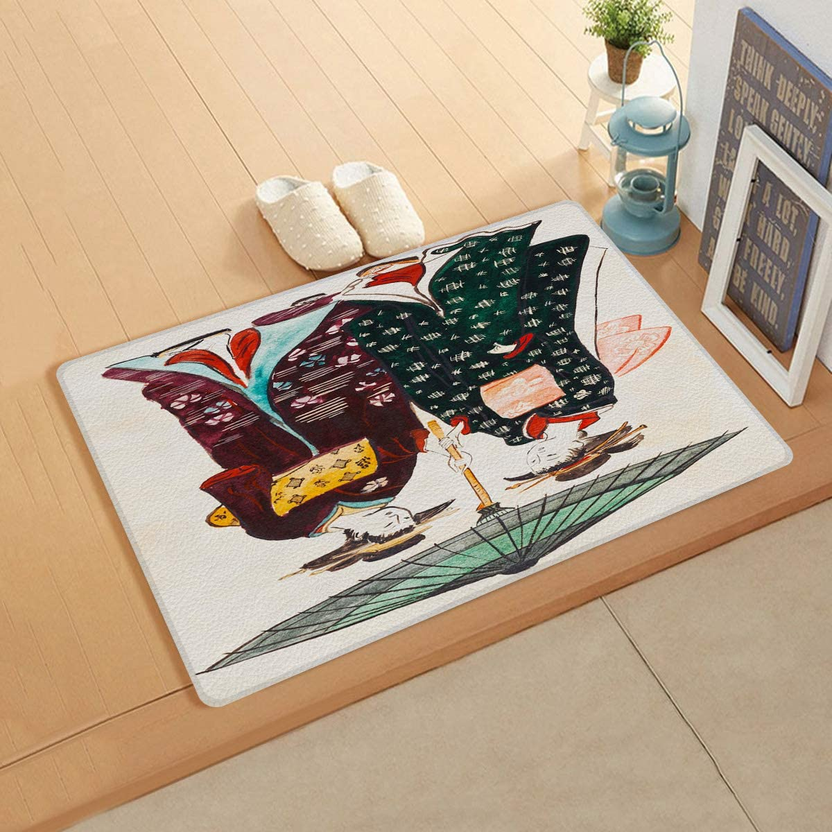 Greeeen Indoor Doormat Welcome Door Mat, 18 x 60 PVC Leather Mat Soft Non-Slip Rubber Backing, Durable, Waterproof Rug for Entrance- East Asian Classical Style Japanese Geisha Kimono Illustration