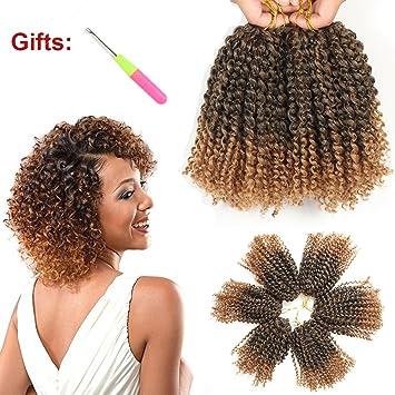 Amazoncom 8 Inch Short Marlybob Crochet Hair 6 Bundleslot Kinky