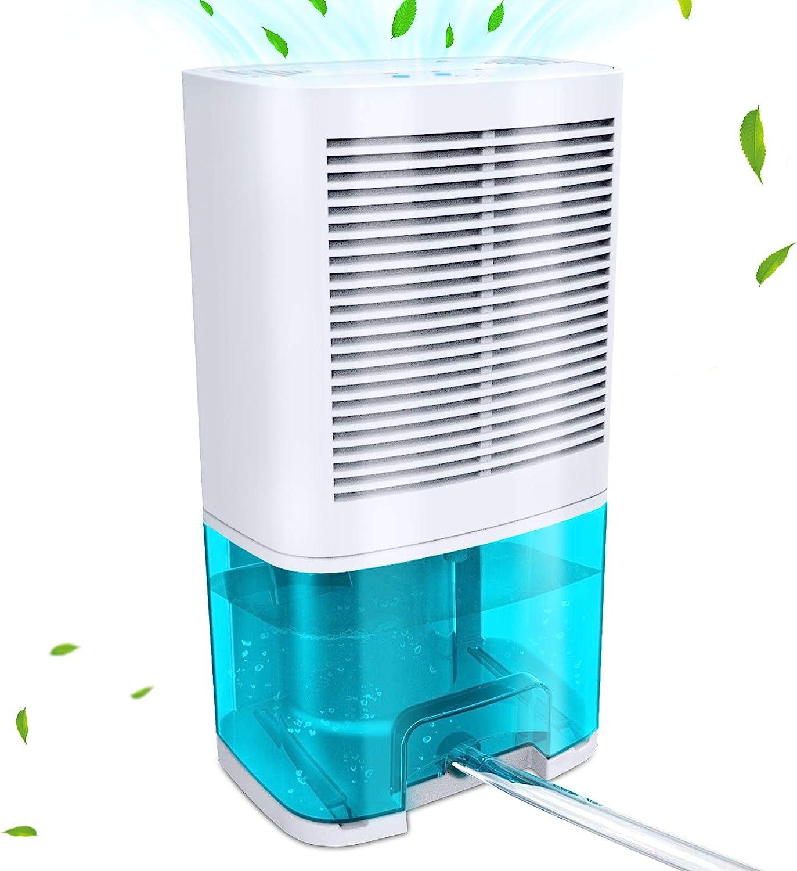 Levoair Dehumidifier 68oz(2000ml) Small Dehumidifier with Drain Hose for 3100 Cubic Feet 330 sq.ft Ultra Quiet Mini Portable Air Dehumidifier for Home Basements Bathroom Bedroom Closet Kitchen RV