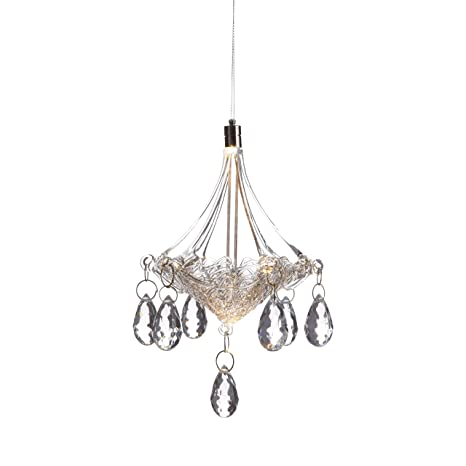Anvehu Ornaments Hand Blown Glass Chandelier With Led Lighting Decorative Hanging Ornament For Fall And Christmas Decorations
