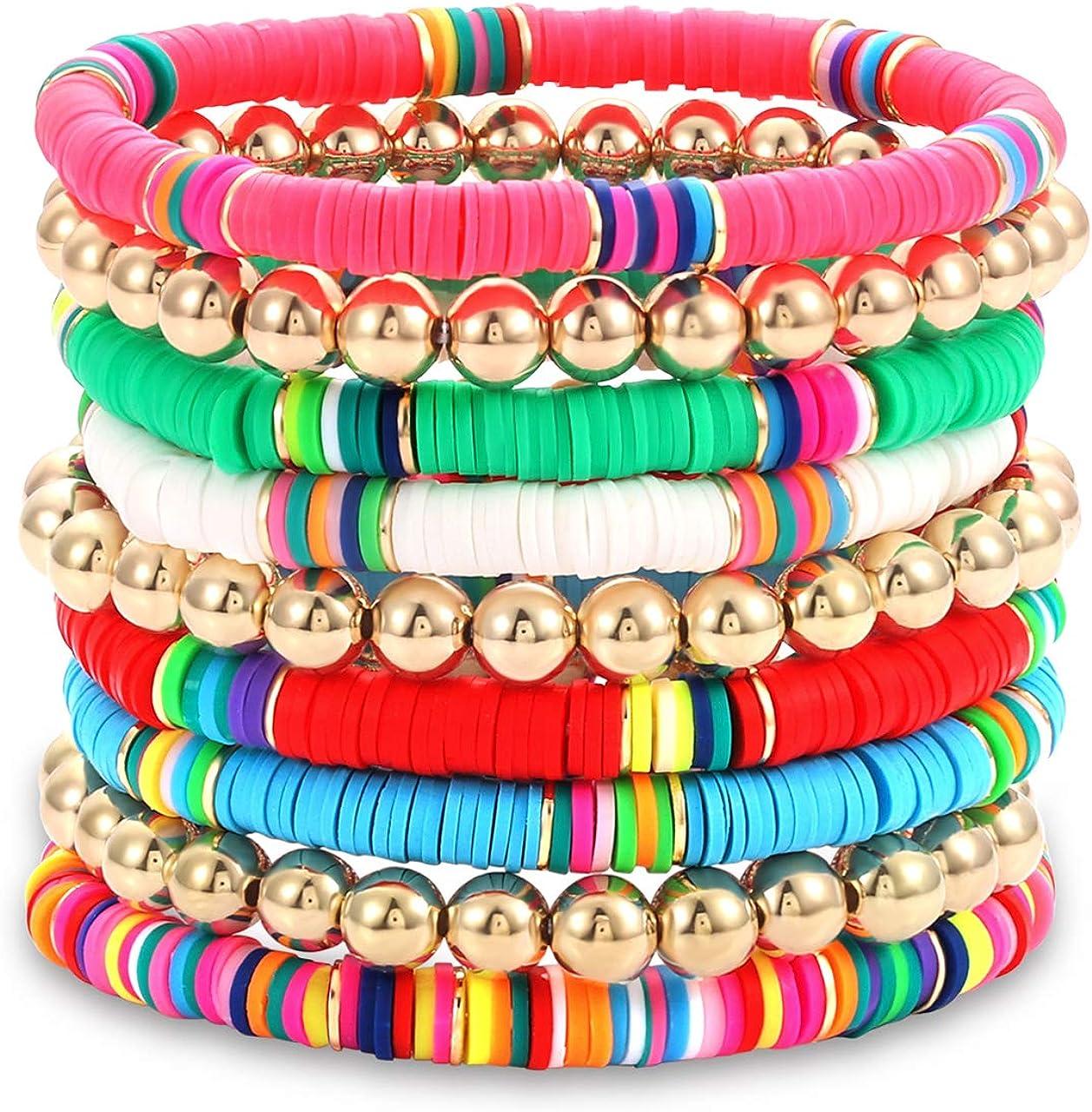 beaded bracelet beaded jewelry stretch bracelet beach fashion gift for him Heishi bracelet gift for her