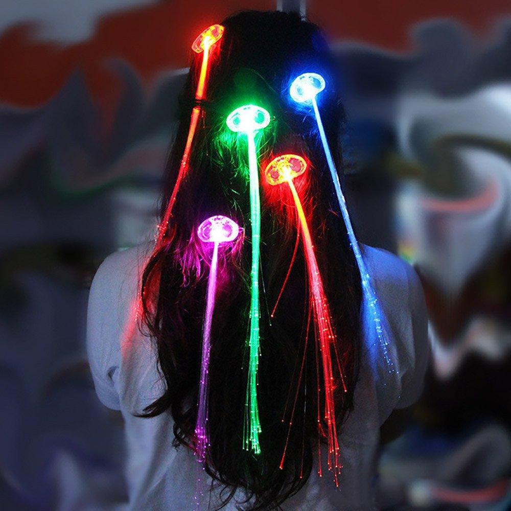 FENSIN LED Perruques Rougeoyante Lampe De Poche Tresse De Cheveux Clip /épingle Anniversaire Jouet De No/ël Enfants Cadeaux