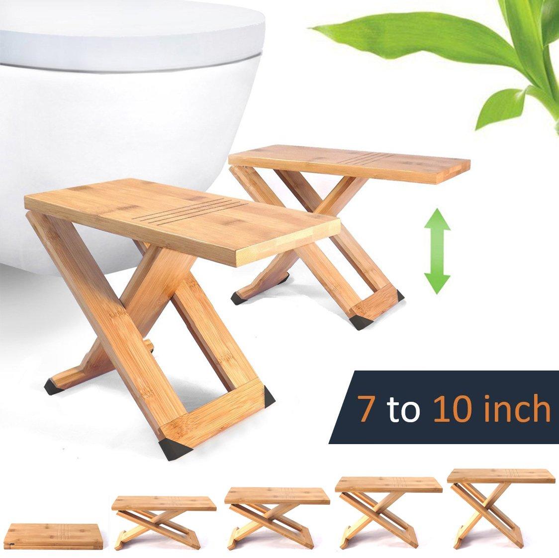 Squat Toilet Stool by Relaxx - Folding Bamboo Wood Squatting Stools - 7'', 8'', 9'', 10'' Adjustable - The Original Portable Bathroom Foot Stool (One Pair) - Black anti-slip