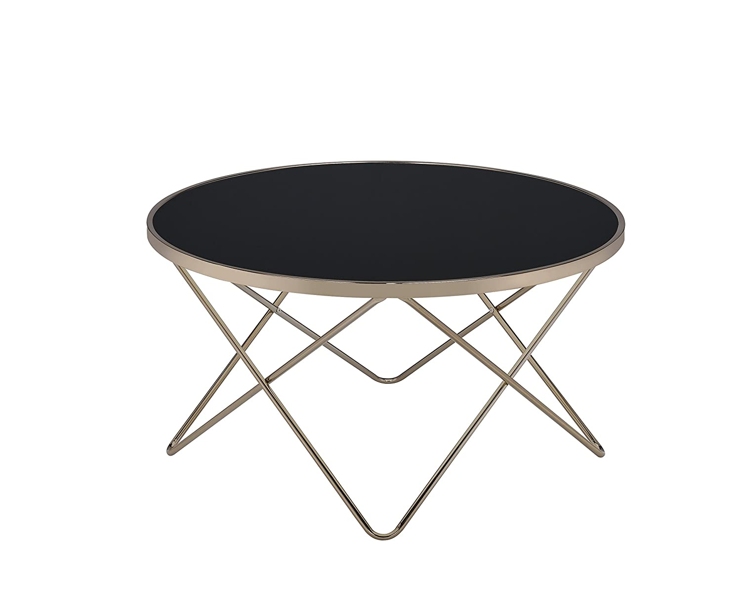 ACME Furniture Acme 81830 Valora Coffee Table, Black Glass & Champagne, One Size