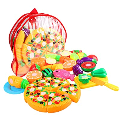 swonuk 24Pcs Kitchen Play Food Set Cutting Fruits/Vegetables Toys Pretend Toddler Kid Play Food Toy Early Educational Development Toys for Kids and Toddlers, Safe for Kid & Toddler: Toys & Games