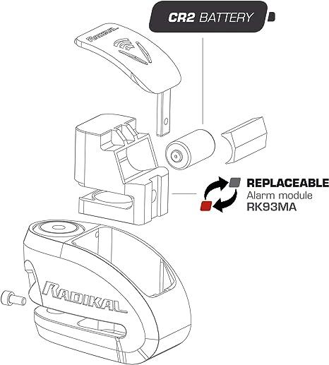 Radikal Rk910s Hochsicherheits Sra Zugelassenes Motorrad Anti Diebstahl Scheibensperralarm 120 Db Doppelverriegelungssystem 10 Mm Stift Rostfreier Stahl 10 Mm Auto