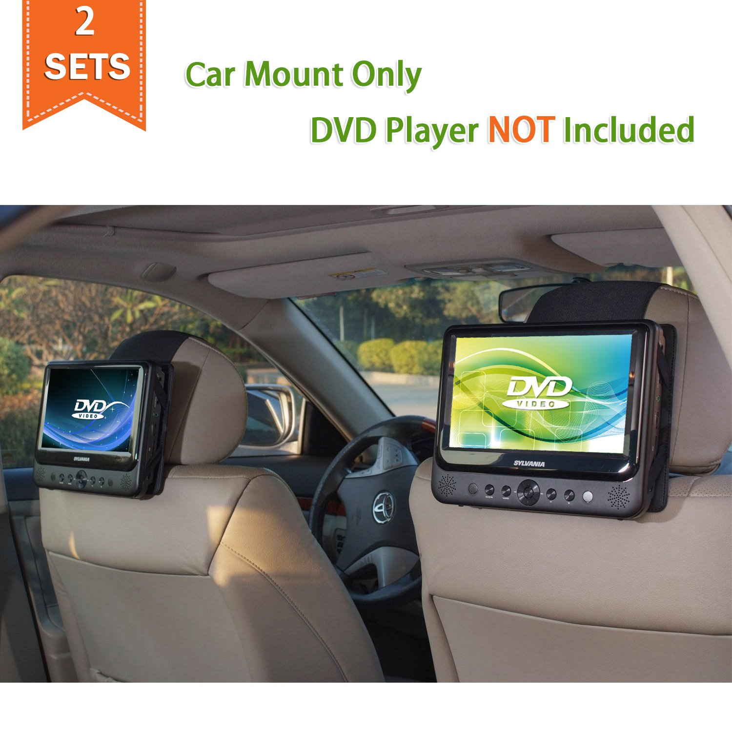 TFY Car Headrest Mount for Portable DVD Player - 2 Pieces by TFY