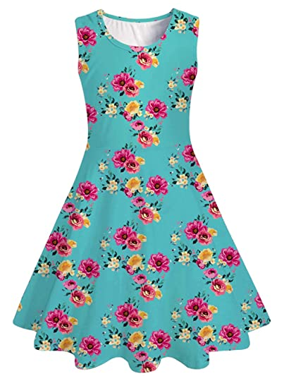 UNICOMIDEA Girl Sleeveless Dress Colorful Print Adorable Tunic Summer Swing Skirt Toddler Casual//Party Sundress 4-13 Years