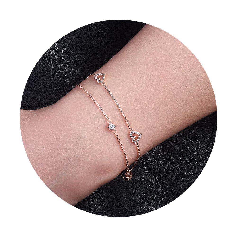 DIDa Heart Bracelet Rose Gold Bracelet for Women Adjustable Bracelet Bangle