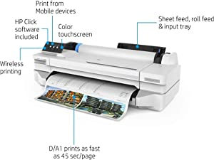 "HP DesignJet T125 Large Format Compact Wireless Plotter Printer - 24"", with Mobile Printing (5ZY57A)"