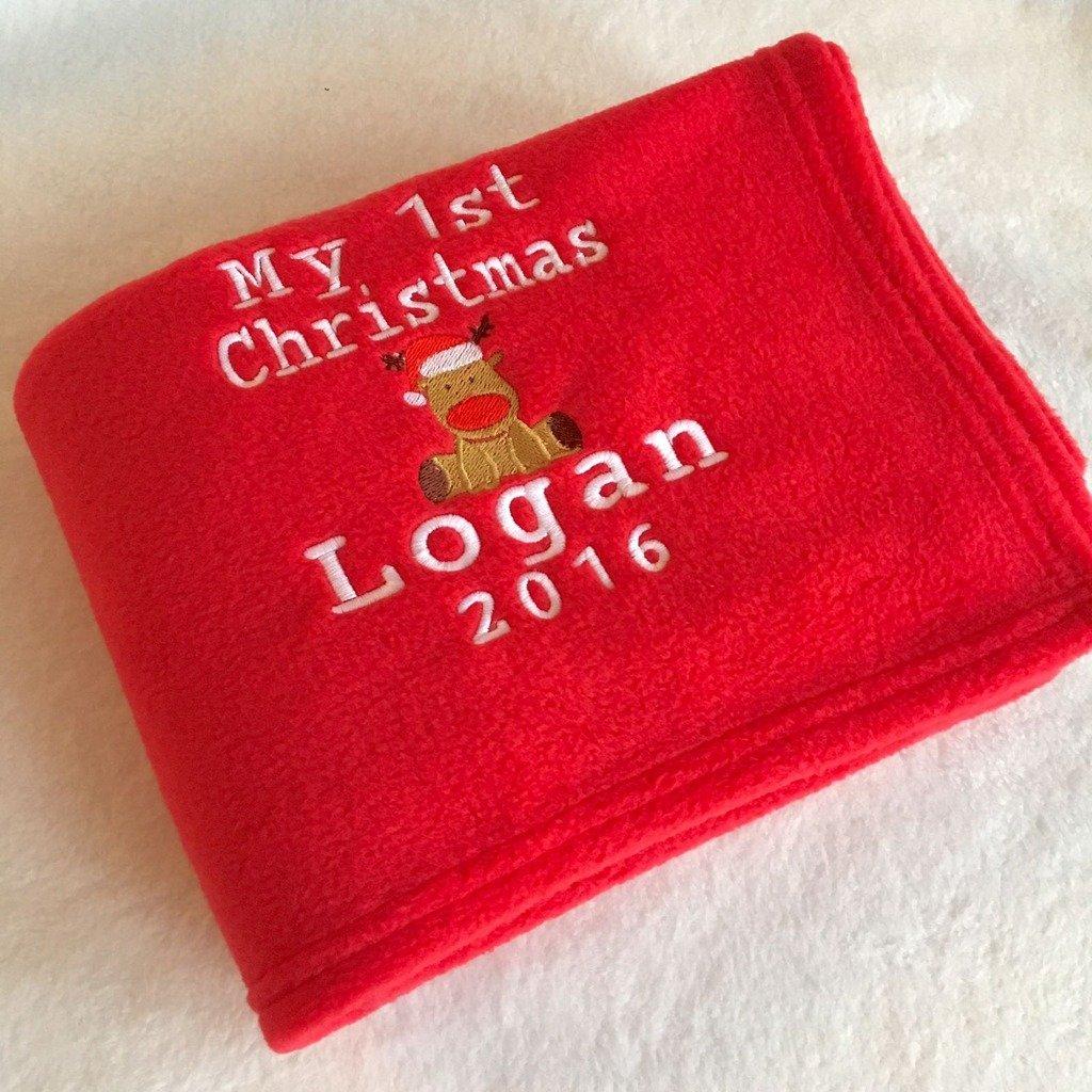 Personalised 1st Christmas Blanket for Baby, Toddler, Kids. Great Keepsake Gift for Christmas, Birthday, Baby shower, Christening Make Me Sew