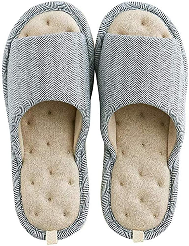 Women Mens Unisex Washable Cotton Open-Toe Home Slippers Indoor Shoes Casual Flax Soft Non-Slip Sole Shoes