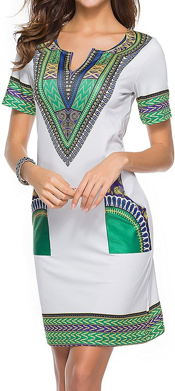 Mxssi Dashiki Vestido Sexy Camisa Estampada Africana Vestidos Mujer Vintage Midi Hippie Tallas Grandes Boho Vestido Casual: Amazon.es: Ropa y accesorios
