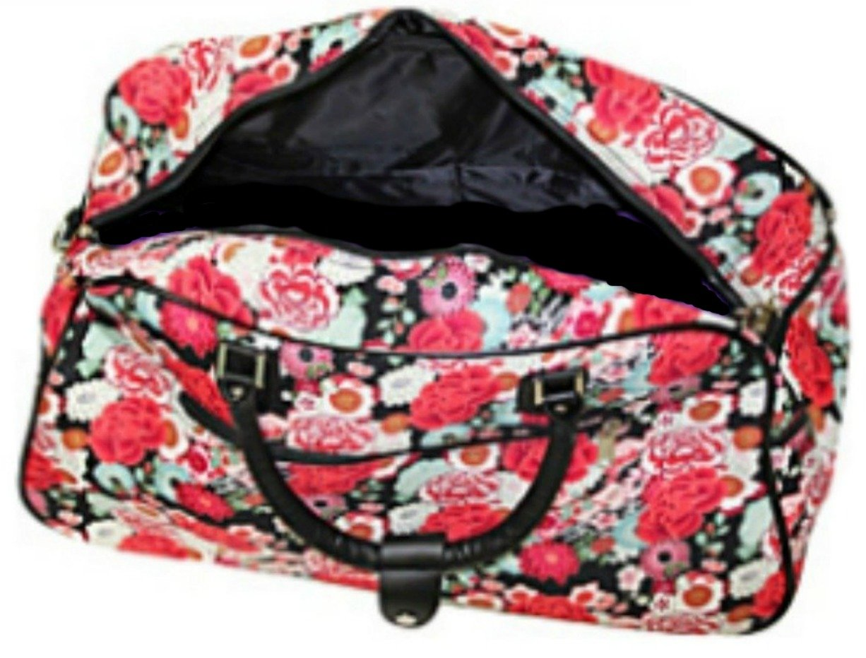 Carry On Rolling Duffel for Women Travel Bag 21 Red Rose Design