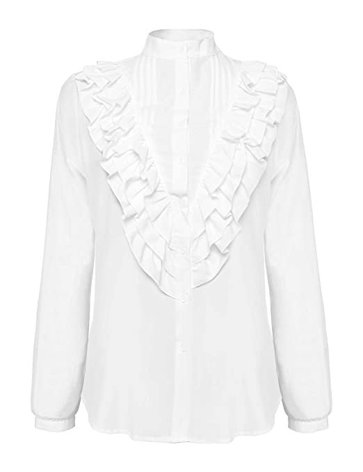 Edwardian Blouses | White & Black Lace Blouses & Sweaters Stand-Up Collar Pleated Layer Ruffle Shirts Tops Blouse $28.99 AT vintagedancer.com