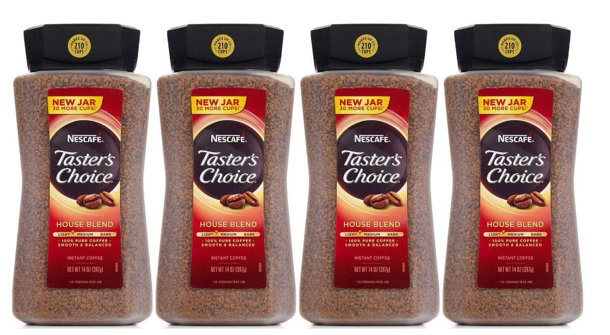 Taster's Choice Original Gourmet Instant Coffee 14 Oz, Pack of 4