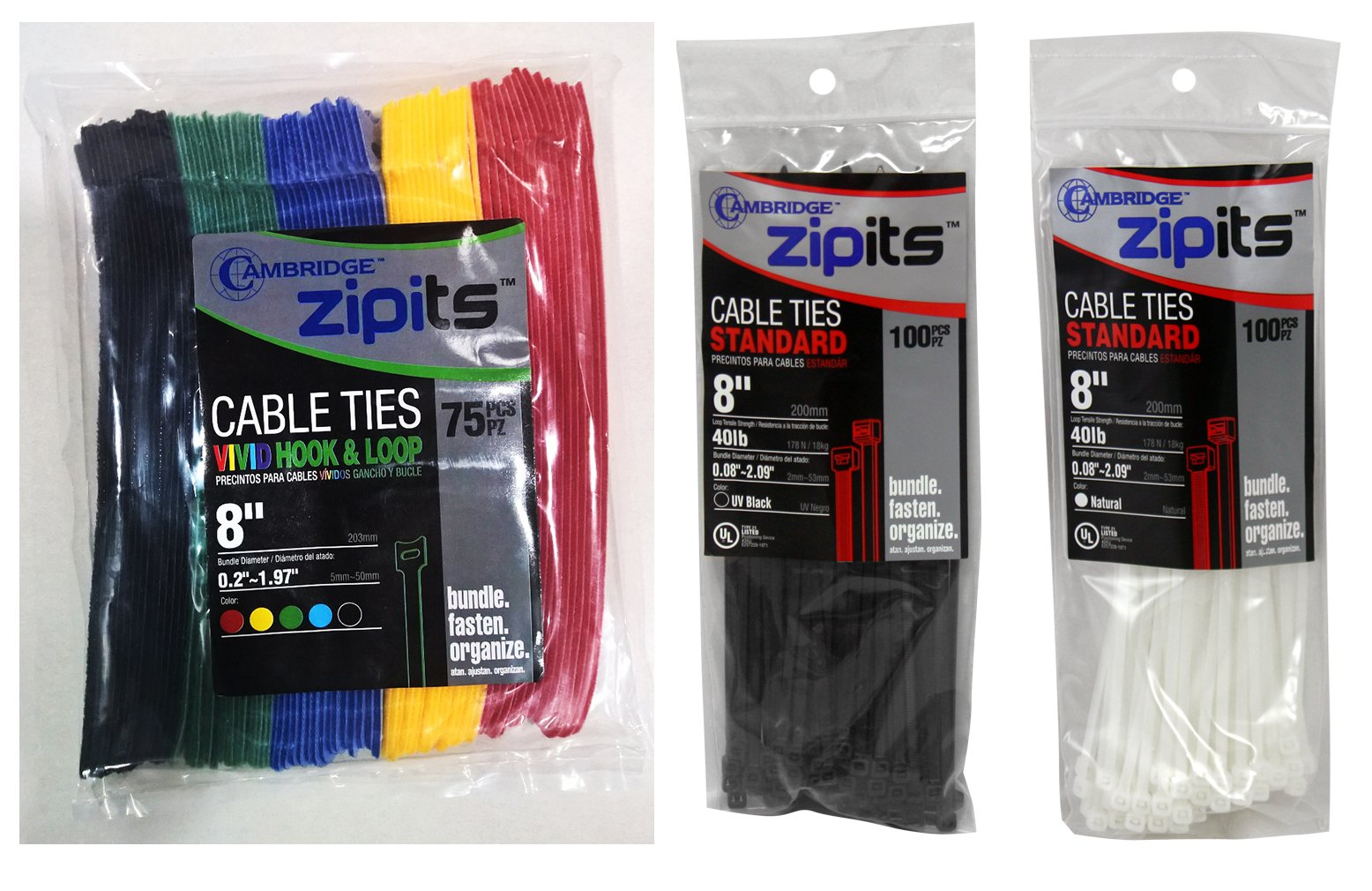 Cambridge ZipIts Self Gripping Reusable Fastening Hook & Loop Cable Ties, 8'' Long X 1/2'' Wide, 75 Pcs. 15 Pcs Each of Black, Blue, Green, Red, Yellow. BONUS 200 Pcs 8'' 40 Lbs Cable Ties