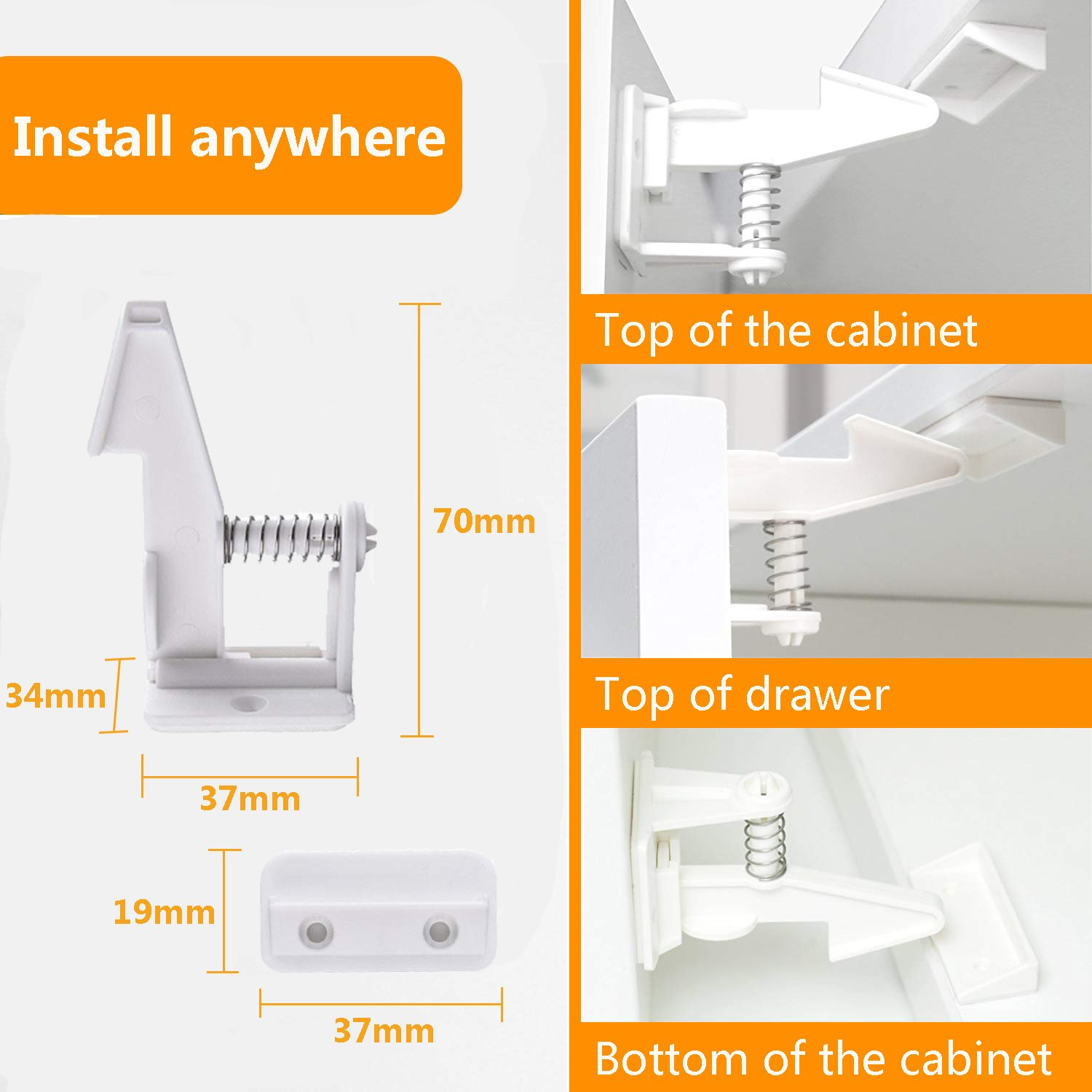 Marsheepy 10 Packs Safety Cabinet Locks,Child Baby Proofing Invisible Cupboard Drawer lcok with self Adhesive (White) by Marsheepy (Image #4)