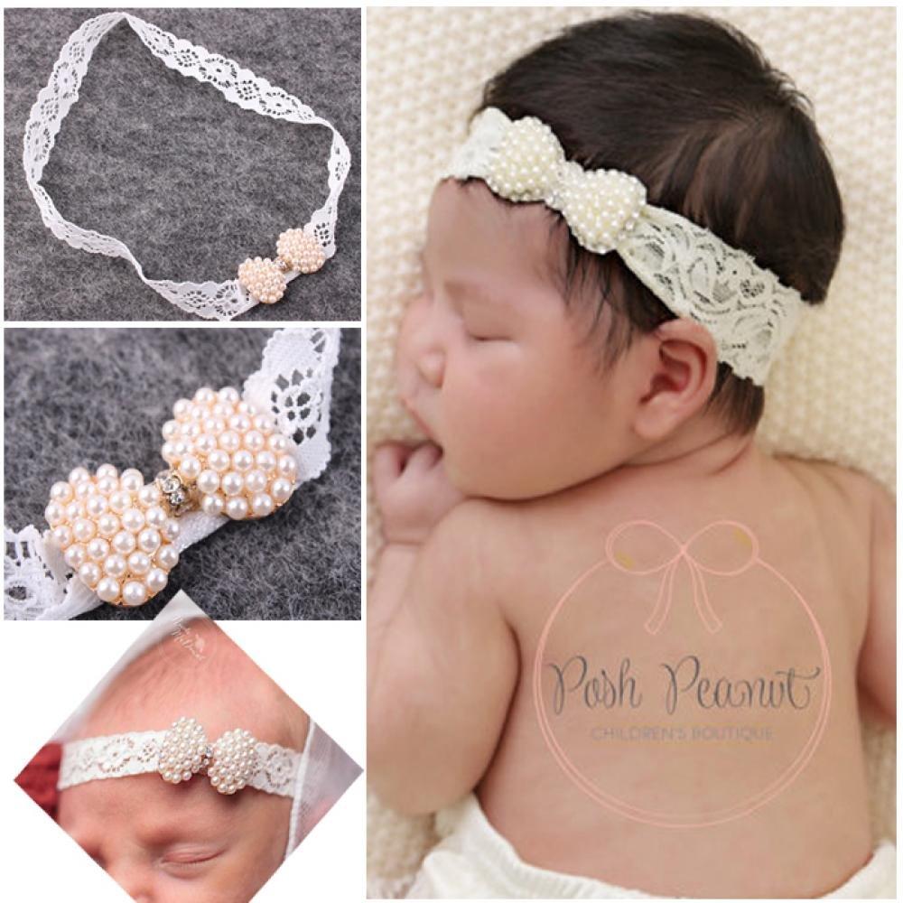 Amazon.com  Pocktyle Fashion Pearl Lace Infant Knot Headband Hairband  Bowknot HeadWrap  Baby 7480ef7c94c