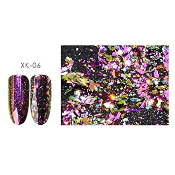 Amazon.com: Clearance! Nail Neon Mirror Powder, Iuhan Nail Powder Neon Mirror Glitter Mirror Effect Rainbow Crystal Opal Nail Makeup (F): Beauty