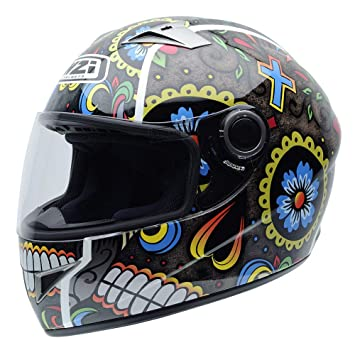 NZI 050264G885 Vital Graphics Mexrood Casco De Moto, Color Amarillo/Azul / Rojo,