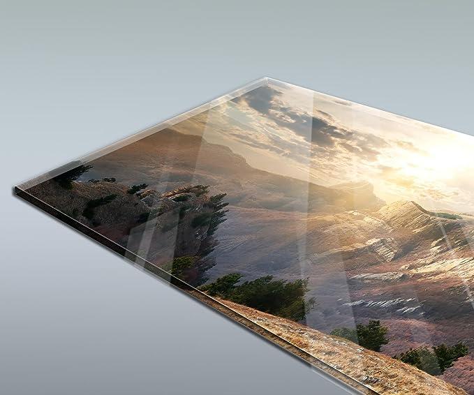 Küchenrückwand Spritzschutz Glas 100x50 Blume Haus Bäume Wiese Berg Landschaft