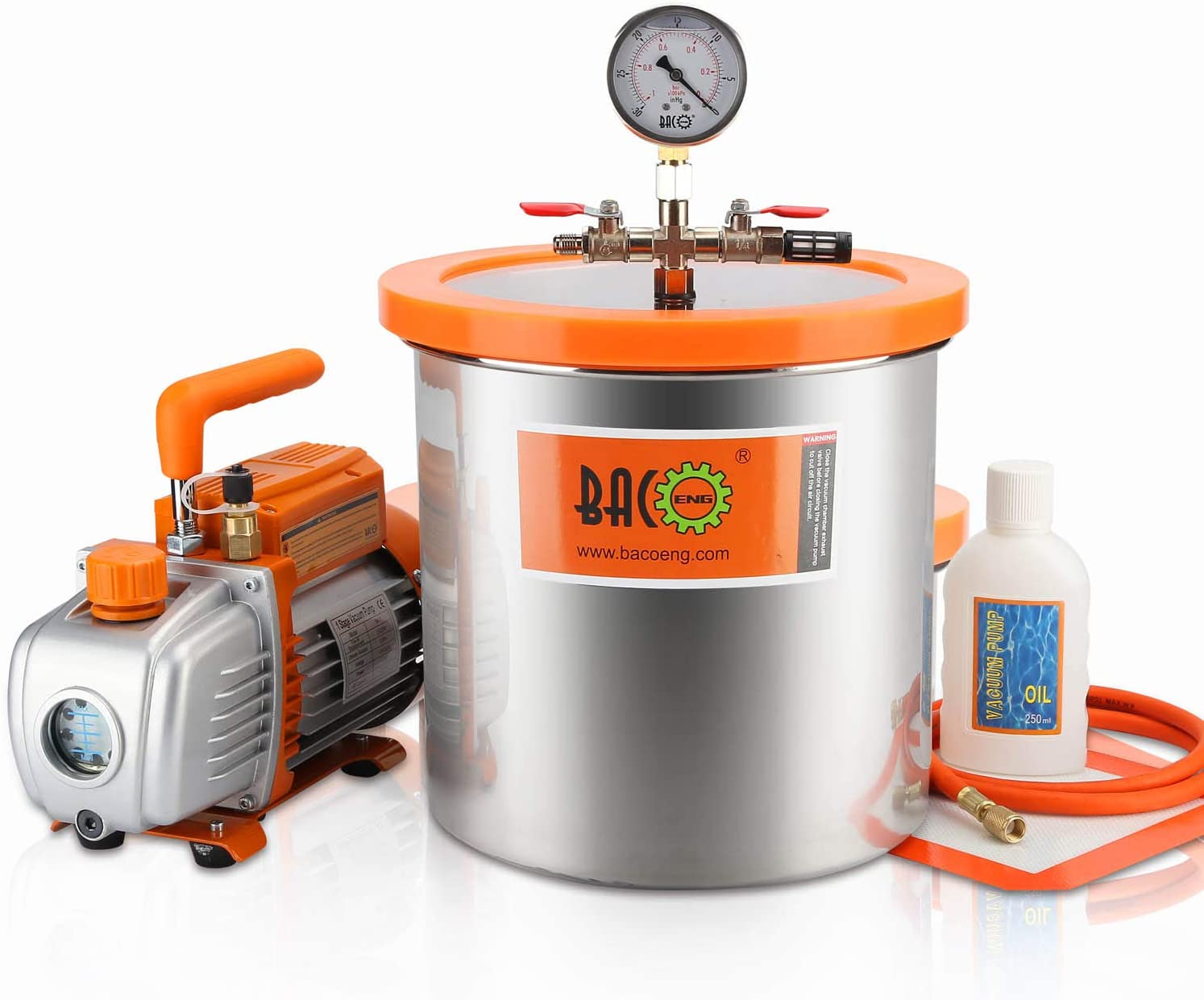 BACOENG 3 Gallon Vacuum Chamber Kit with 3.6 CFM 1 Stage Vacuum Pump HVAC
