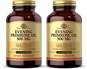 Solgar Evening Primrose Oil 500 mg, 180 Softgels - Pack of 2 - Promotes Healthy Skin & Cardiovascular Health - Nutritional Support for Women - Gluten Free, Dairy Free - 360 Servings