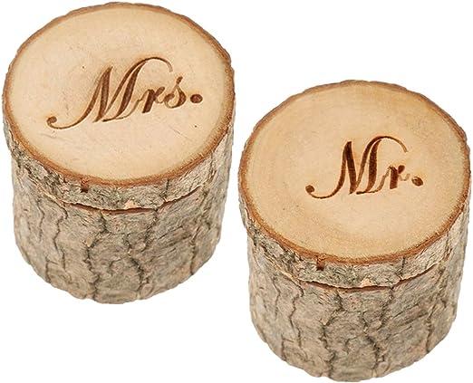 SUPVOX - 2 cajas de madera para alianzas de boda, cajas para ...