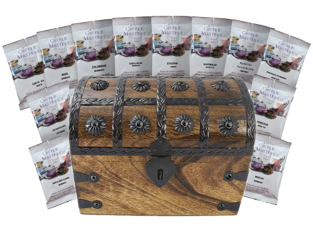 Coffee Treasure Chest Sampler 12 Around the World Coffee Masters Variety Pack Gift Set by Well Pack Box