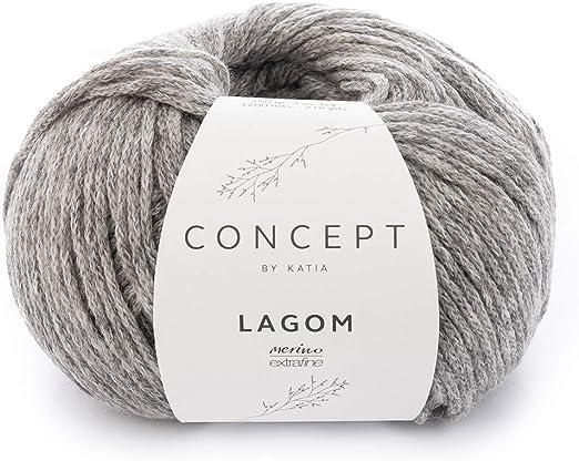 Katia lagom FB. 104 – Gris Medio, 50 g Lana de Merino con algodón ...