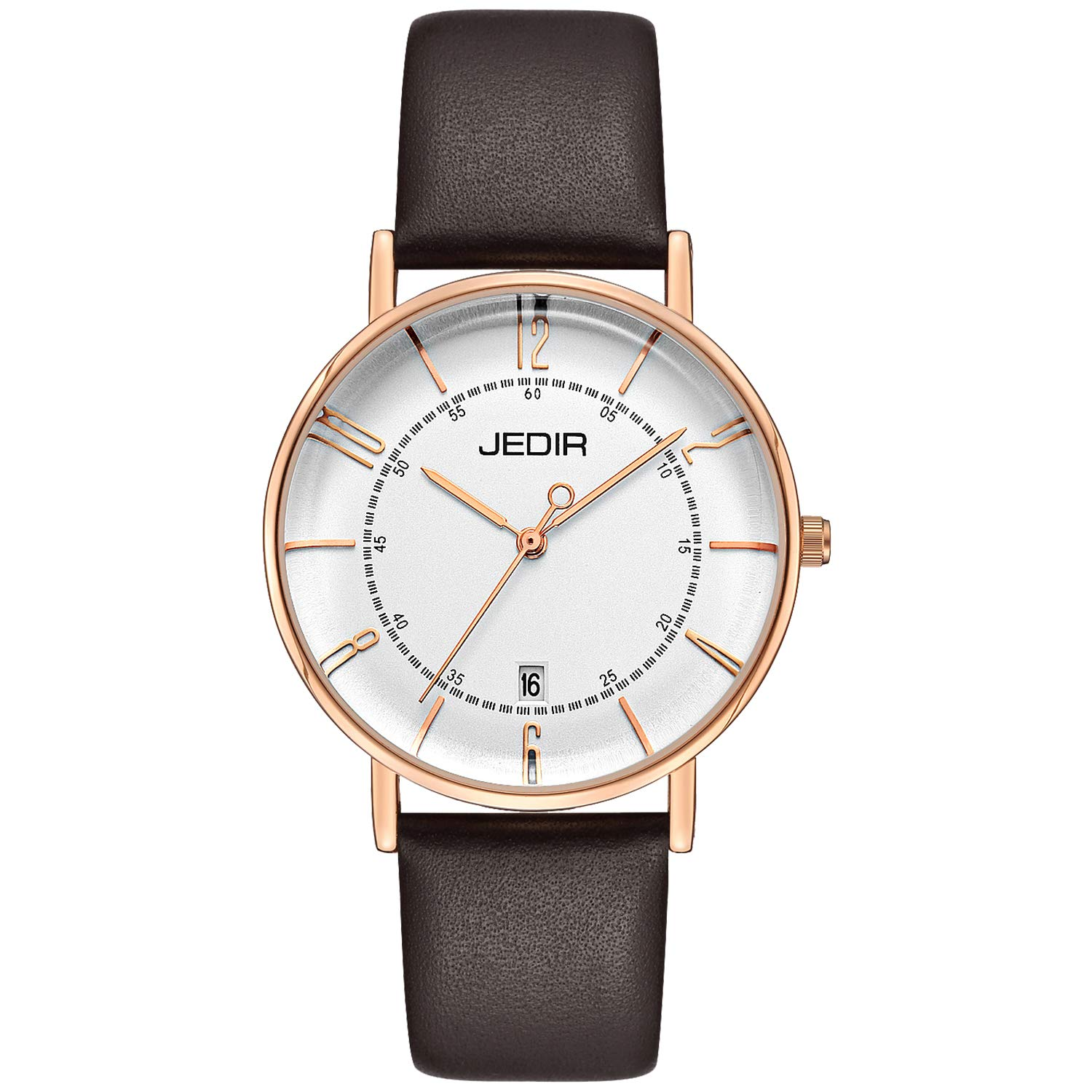 JEDIR Women's Watches Simple Thin Analog Quartz Watch Big Face Arabic Numbers Calendar Rose Gold Case Brown Leather Strap