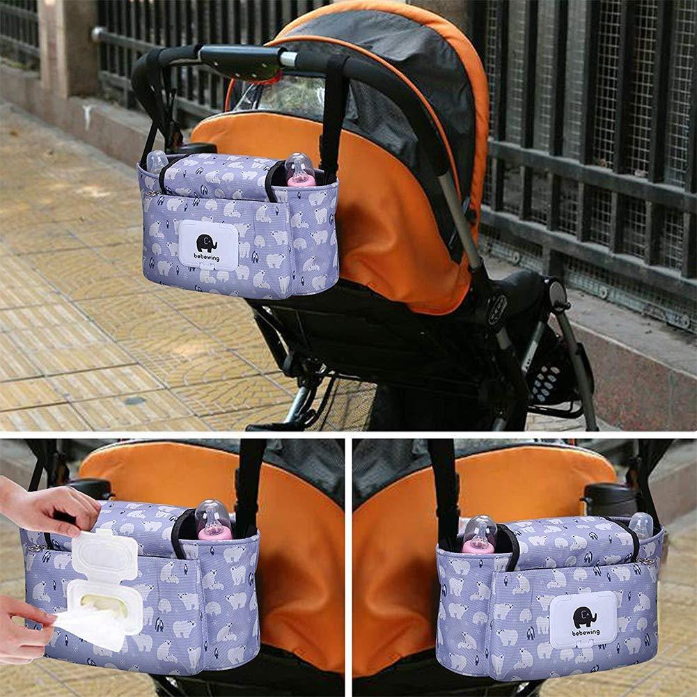 ajuste universal y cochecitos Cochecito de beb/é Organizador bolsa de pa/ñales con soporte para tel/éfono m/óvil White Bear